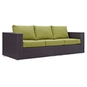 Cabo Modern Outdoor Sofa - Espresso + Green