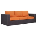 Cabo Modern Outdoor Sofa - Espresso + Orange