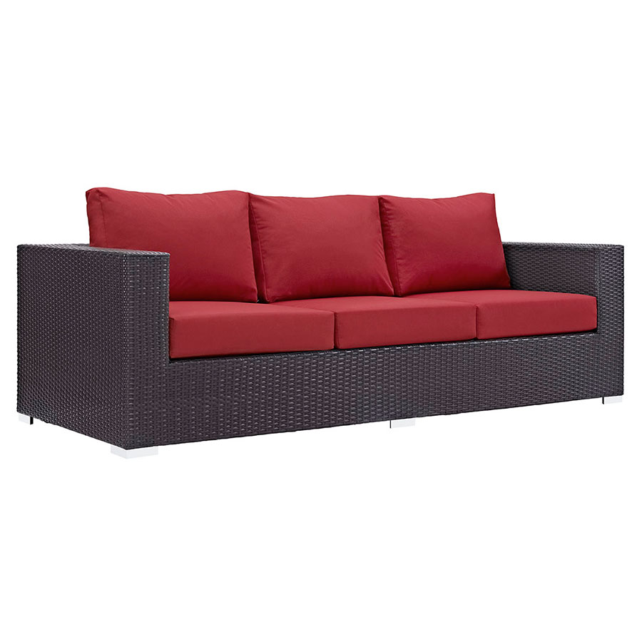 Cabo Modern Outdoor Sofa - Espresso + Red