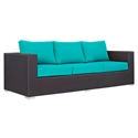 Cabo Modern Outdoor Sofa - Espresso + Turquoise