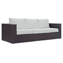 Cabo Outdoor Modern Sofa - Espresso + White