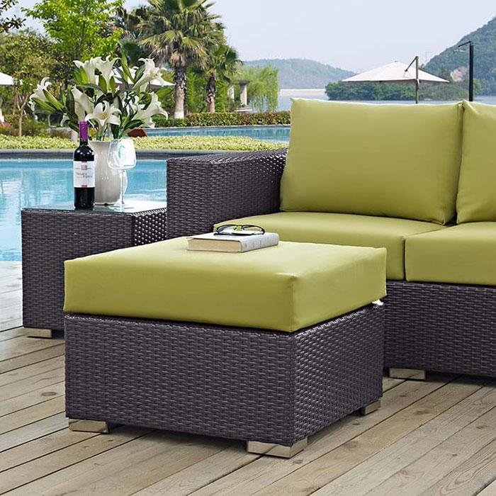 Cabo Modern Green Ottoman; Cabo Contemporary Small Square Outdoor Ottoman    Espresso/Green