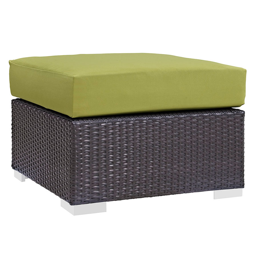 Cabo modern outdoor green ottoman eurway furniture for Small square couch