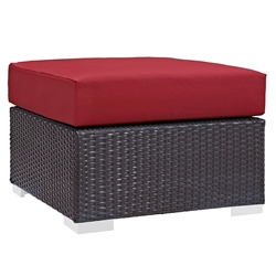 Cabo Modern Red Outdoor Ottoman