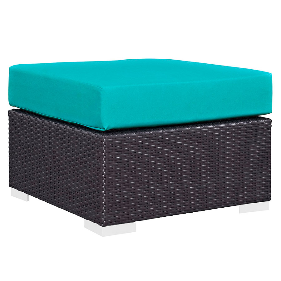Cabo Modern Turquoise Outdoor Ottoman