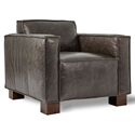Gus* Modern Cabot Saddle Gray Leather Upholstery + Walnut Stained Wood Block Feet Modern Arm Chair