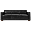 Gus* Modern Cabot Sofa in Saddle Black Leather Upholstery with Walnut Stained Solid Wood Block Feet