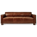 Cabot Saddle Brown Leather Upholstery + Walnut Stained Wood Block Feet Modern Sofa by Gus* Modern