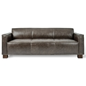 Gus* Modern Cabot Sofa in Saddle Gray Leather Upholstery with Walnut Stained Solid Wood Block Feet