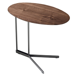 Cabrini Walnut Modern Side Table with Powder Coated Steel Base by Modloft Black