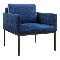 Cairo Modern Accent Chair in Navy Blue Velvet