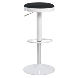 Calgary Modern White + Black Adjustable Bar Stool