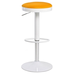 Calgary Modern White + Orange Adjustable Bar Stool