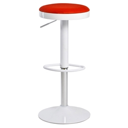 Calgary Modern White + Red Adjustable Bar Stool