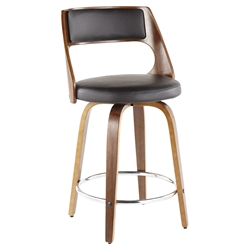 Calhoun Modern Walnut and Brown Counter Stool