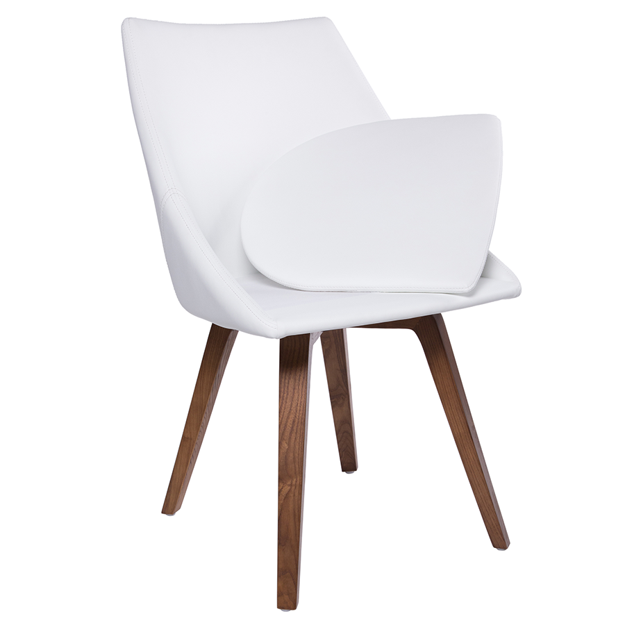 ... Corsica White Leatherette Swivel Contemporary Dining Chair With  Removable Cushion ...