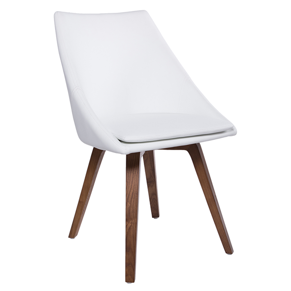Corsica White Swivel European Modern Faux Leather Dining Chair