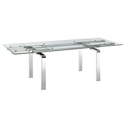 Calvert Steel + Glass Modern Extension Dining Table
