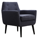 Calypso Navy Linen + Black Wood Vintage Modern Arm Chair