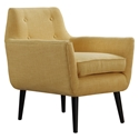 Calypso Mustard Yellow Linen + Black Wood Mid Century Modern Arm Lounge Chair