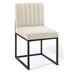 Cambridge Modern Beige Fabric + Black Steel Dining Chair