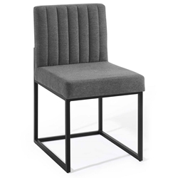 Cambridge Modern Charcoal Fabric + Black Steel Dining Chair