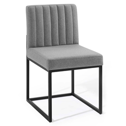 Cambridge Modern Light Gray Fabric + Black Steel Dining Chair