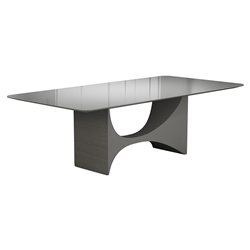 Camden Gray Glass + Acier Wood Modern Rectangular Dining Table by Modloft Black