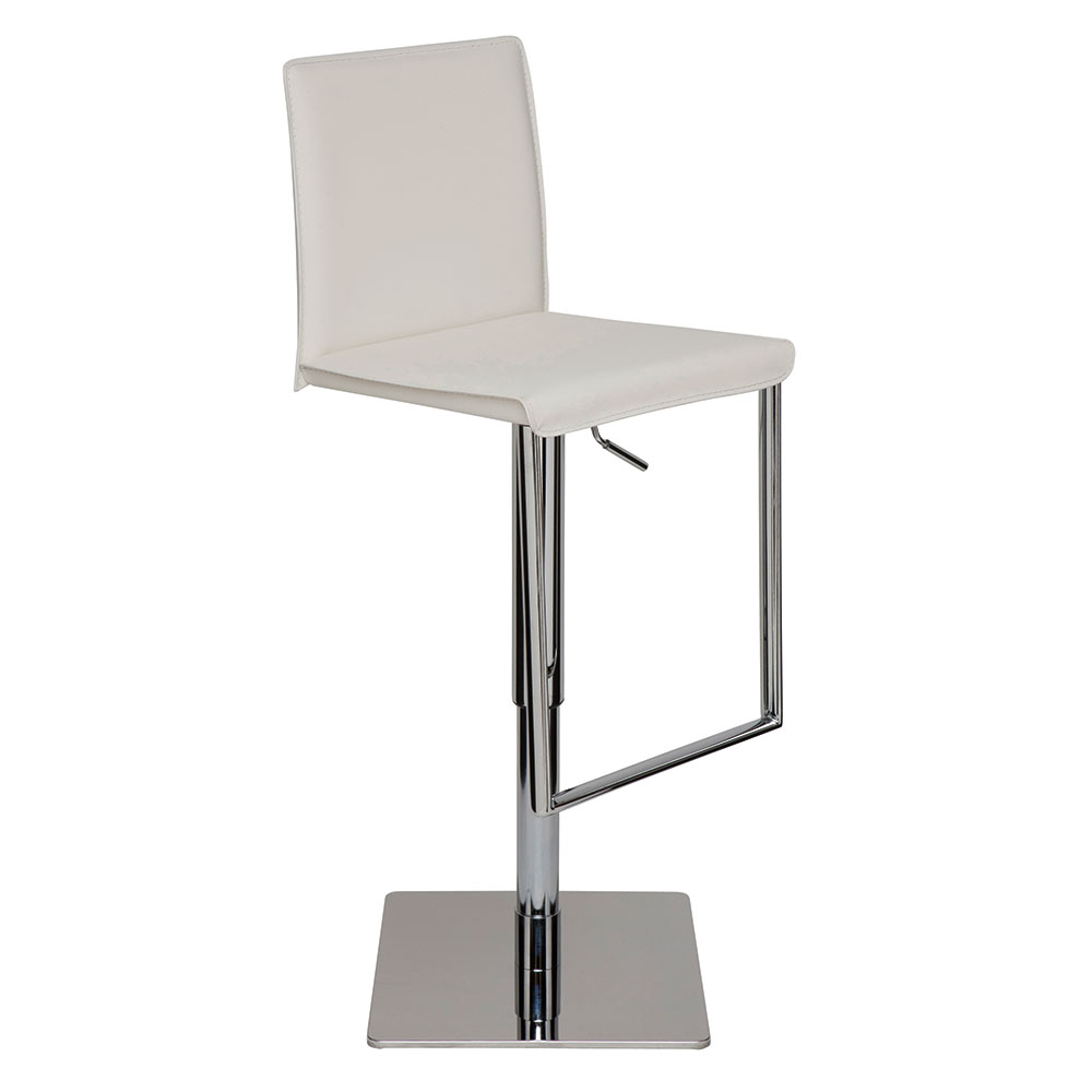Cameron White Naugahyde + Chromed Steel Modern Adjustable Bar + Counter Stool