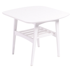 Carmela Contemporary Matte White Side Table