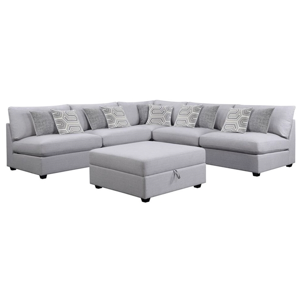 Candice Modern Gray Sectional Sofa + Storage Ottoman