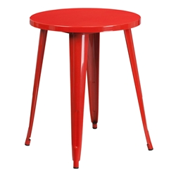 "Canfield 24"" Round Red Modern Outdoor Dining Table"