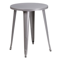 "Canfield 24"" Round Silver Modern Outdoor Dining Table"