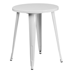 "Canfield 24"" Round White Modern Outdoor Dining Table"