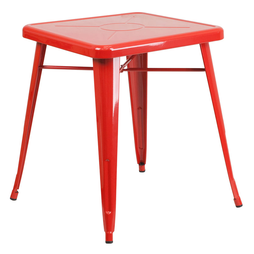 "Canfield 24"" Square Red Modern Outdoor Dining Table"