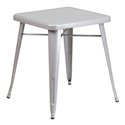 "Canfield 24"" Square Silver Modern Outdoor Dining Table"