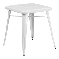 "Canfield 24"" Square White Modern Outdoor Dining Table"