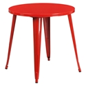 "Canfield 30"" Round Red Modern Outdoor Dining Table"