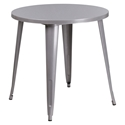 "Canfield 30"" Round Silver Modern Outdoor Dining Table"
