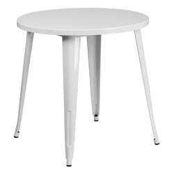 "Canfield 30"" Round White Modern Outdoor Dining Table"