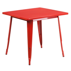 "Canfield 32"" Red Square Modern Outdoor Dining Table"