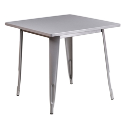 "Canfield 32"" Square Silver Modern Outdoor Dining Table"