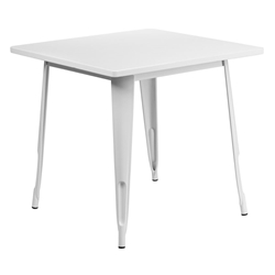 "Canfield 32"" Square White Modern Outdoor Dining Table"