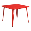 "Canfield 36"" Red Square Modern Outdoor Dining Table"