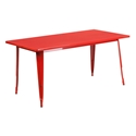 "Canfield 63"" Rectangle Red Modern Outdoor Dining Table"