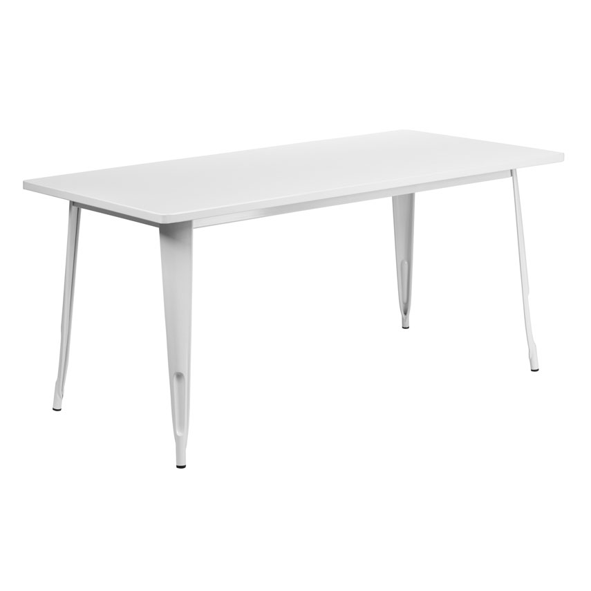"Canfield 63"" Rectangle White Modern Outdoor Dining Table"