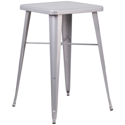 Canfield Modern Silver Outdoor Bar Table