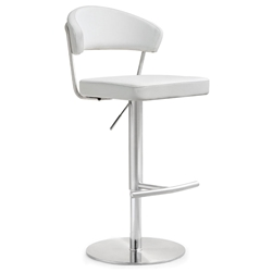 Cannes Modern White Adjustable Height Stool