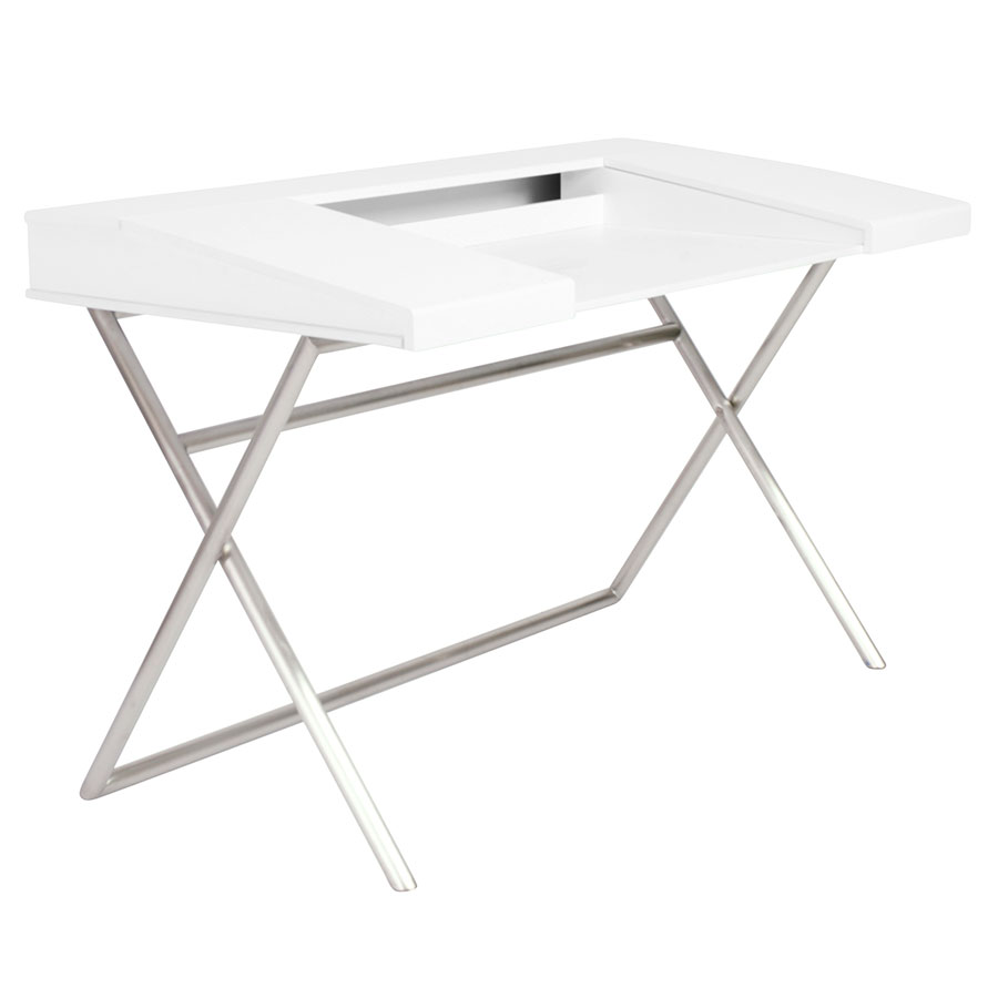 Canton Modern White & Stainless Steel Desk