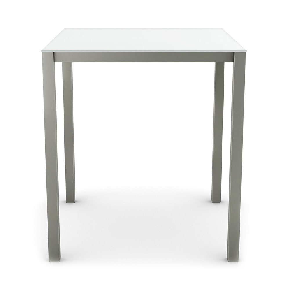 Carbon Modern Counter Table w/ Ultra White Glass by Amisco